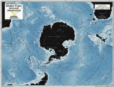 Ocean Floor around Antarctica - Atlas of the World, 10th Edition 2015 by National Geographic
